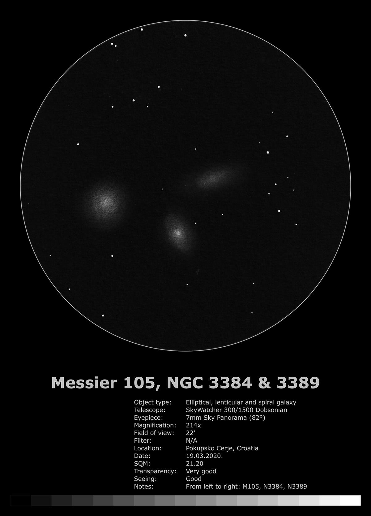 Messier 105, NHC 3384 i 3389